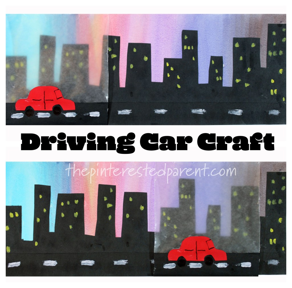 Watch your car go!! Driving car craft. Craft in motion. Kids's arts and crafts.