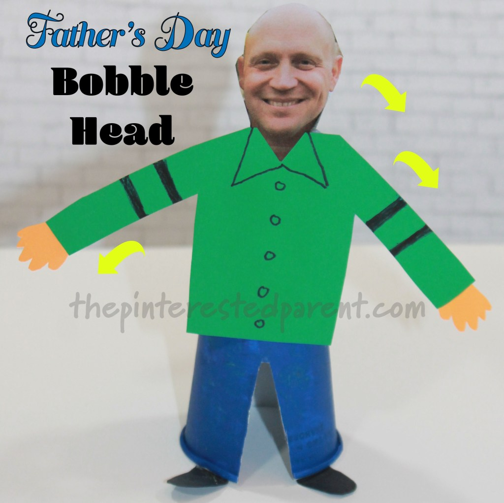 Father's Day Bobble Head Doll - Watch Dad bobble back and forth in this cute Dixie Cup craft for kids. #arts and crafts for kids