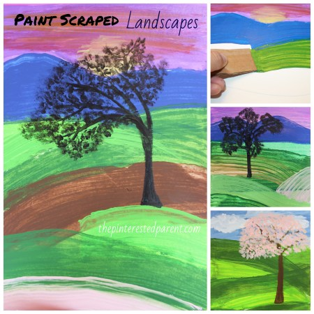Paint scraped landcapes - use cardboard to scrape beautiful scenery. Art & painting for kids. Elementary art. #meadows #landscapes #painting