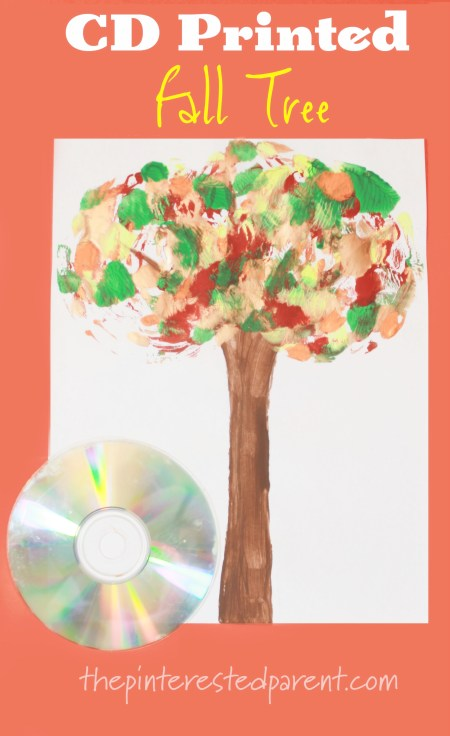 CD Printed Fall Tree - kids arts and craft for autumn. #painting #stamping #seasons