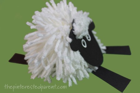 Pom pom sheep craft - farm animals arts and crafts for kids