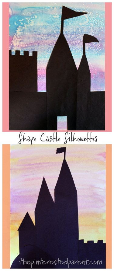 Shape Castle Sihouettes with Watercolors and construction paper - kids arts and crafts. #painting #fairy tales #magical