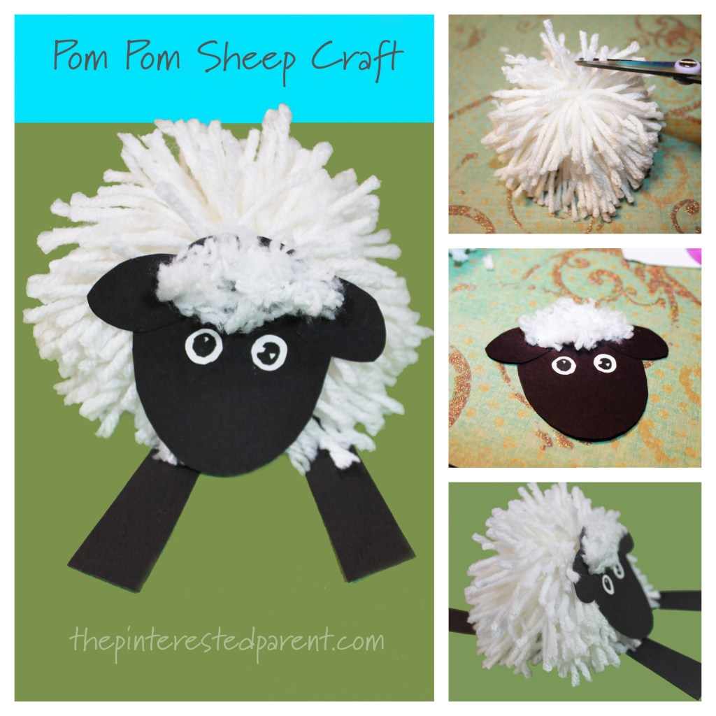 Easy Yarn Pom pom sheep craft - farm animals arts and crafts for kids inspired by the book 'Farmer Pete Has Stinky Feet'