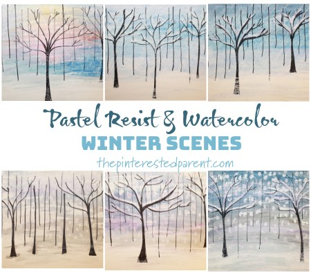 Pastel resist and watercolor painted winter scene - pretty and easy winter and Christmas art project for kids