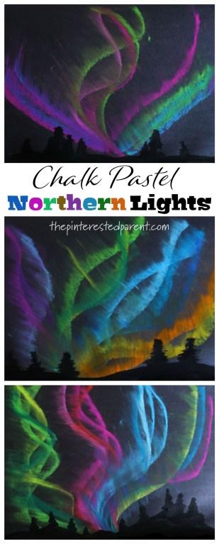 Chalk Pastel Northern Light Art for kids