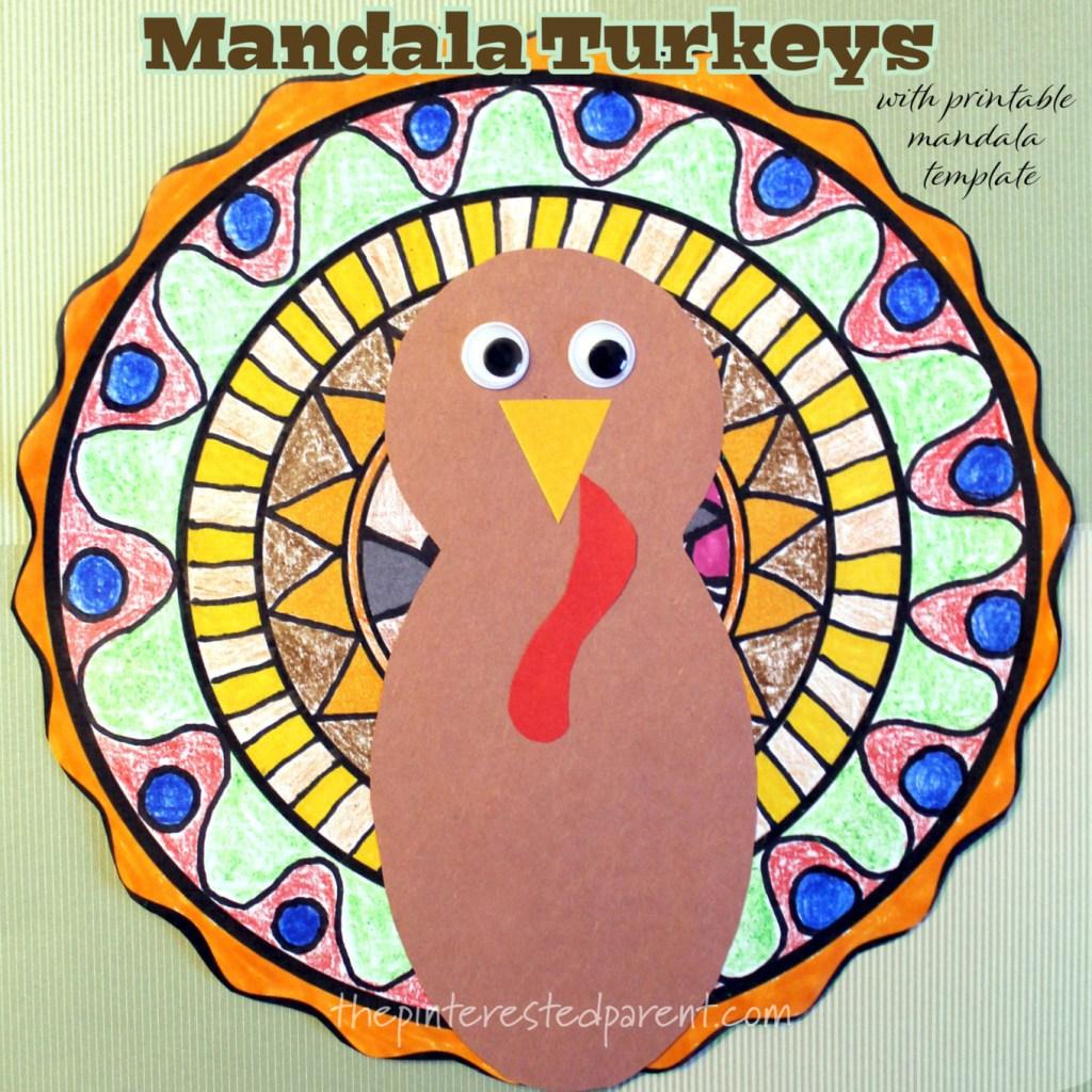 Mandala Turkeys with printable draw-in mandala template. #kids arts & crafts #Thanksgiving #turkey #mandala