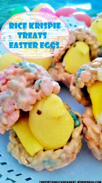 Rice Krispie Treat Easter Eggs with peeps
