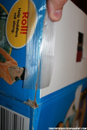 Pull the remaining fold down flap up so the seams all touch and tape into place. This will lengthen the box on the sides & back.