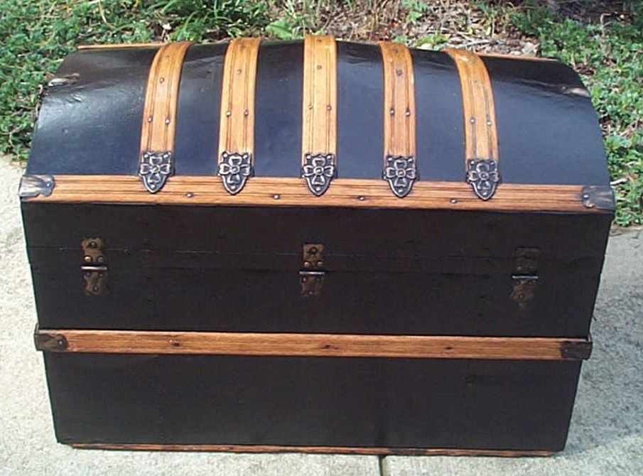 456 Restored Metal Black And Gold Dome Top Antique Trunk