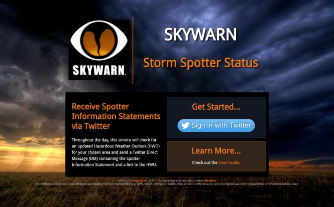 Storm Spotter Status splash