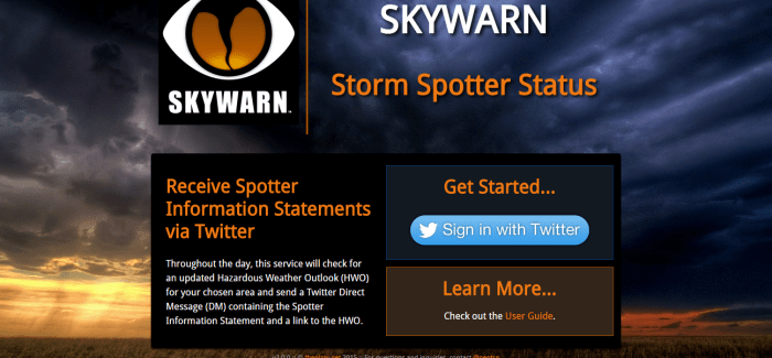 SKYWARN – Storm Spotter Status – v2