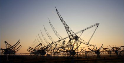 Photo by Yasmin Walter. Northern Cross radio telescope array..