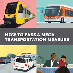 Illustraton of train, bus, traffic, and meeting; How to Pass a Mega Transportation Measure