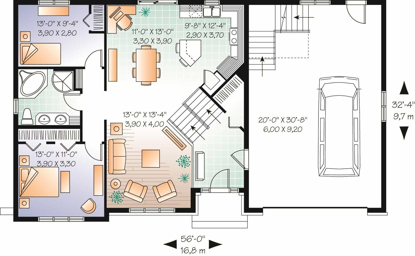 Split-Level/Multi-Level House Plan: 2136 Sq. Ft. Home Plan