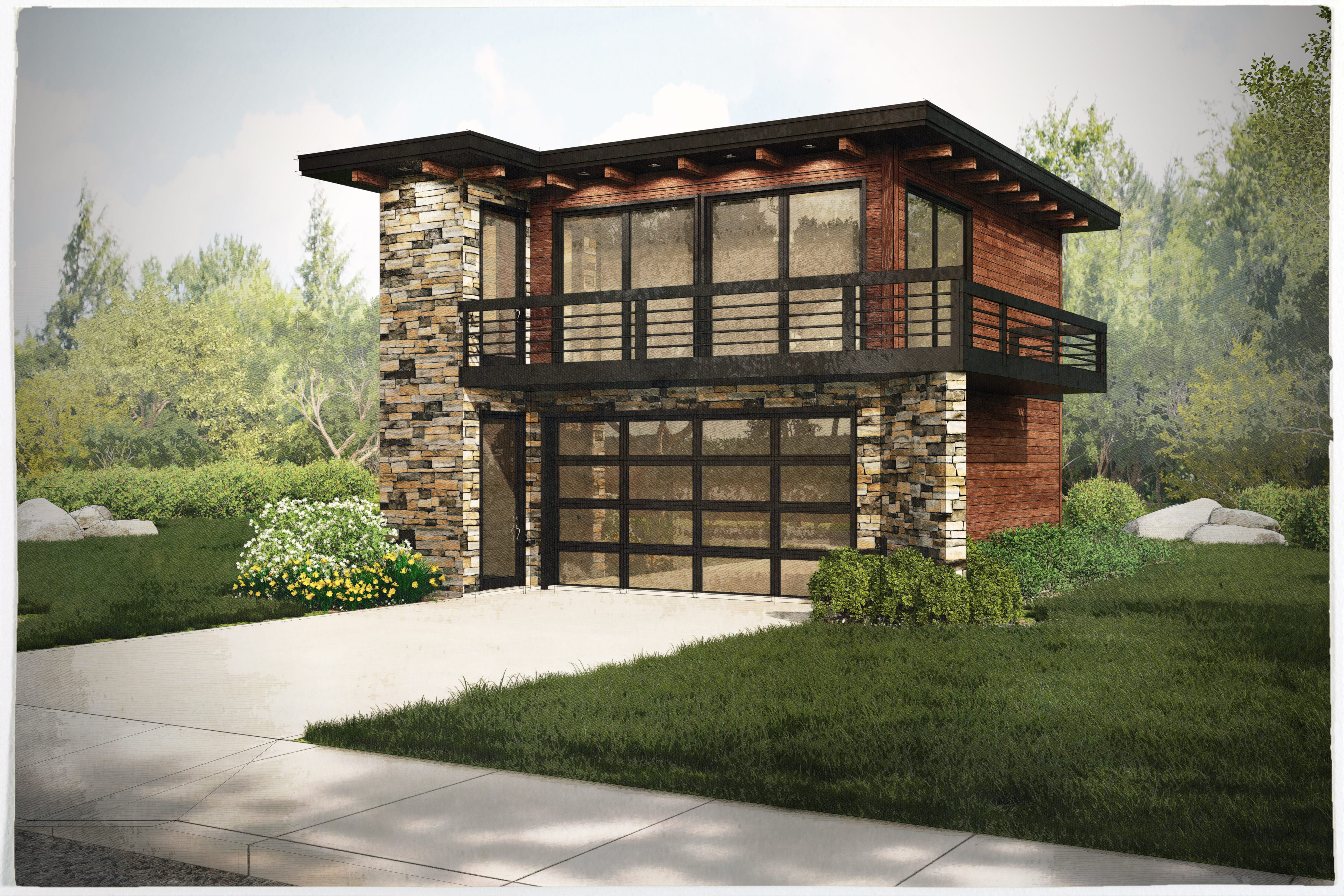Garage Wapartments With 2car, 1 Bedrm, 615 Sq Ft Plan