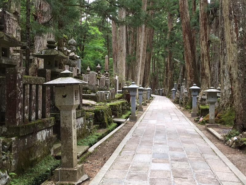 the path of the okunoin cemetery in Japan