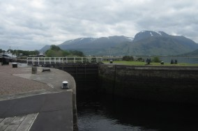 The southern entrance to the Caledonian Canal from sea Loch Linnhe, at Corpach. The canal runs from near Fort William to Inverness, a distance of 50nm, of which 22nm are man made. It was constructed from 1803 to 1822 and the quickest crossing from sea to sea takes 14 hours.