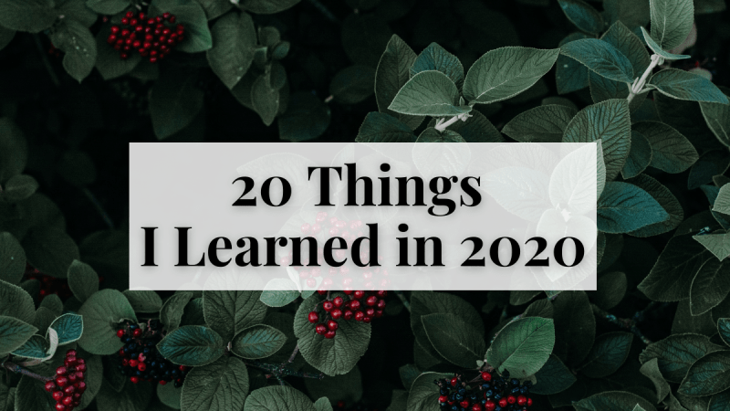 20 Things I Learned in 2020