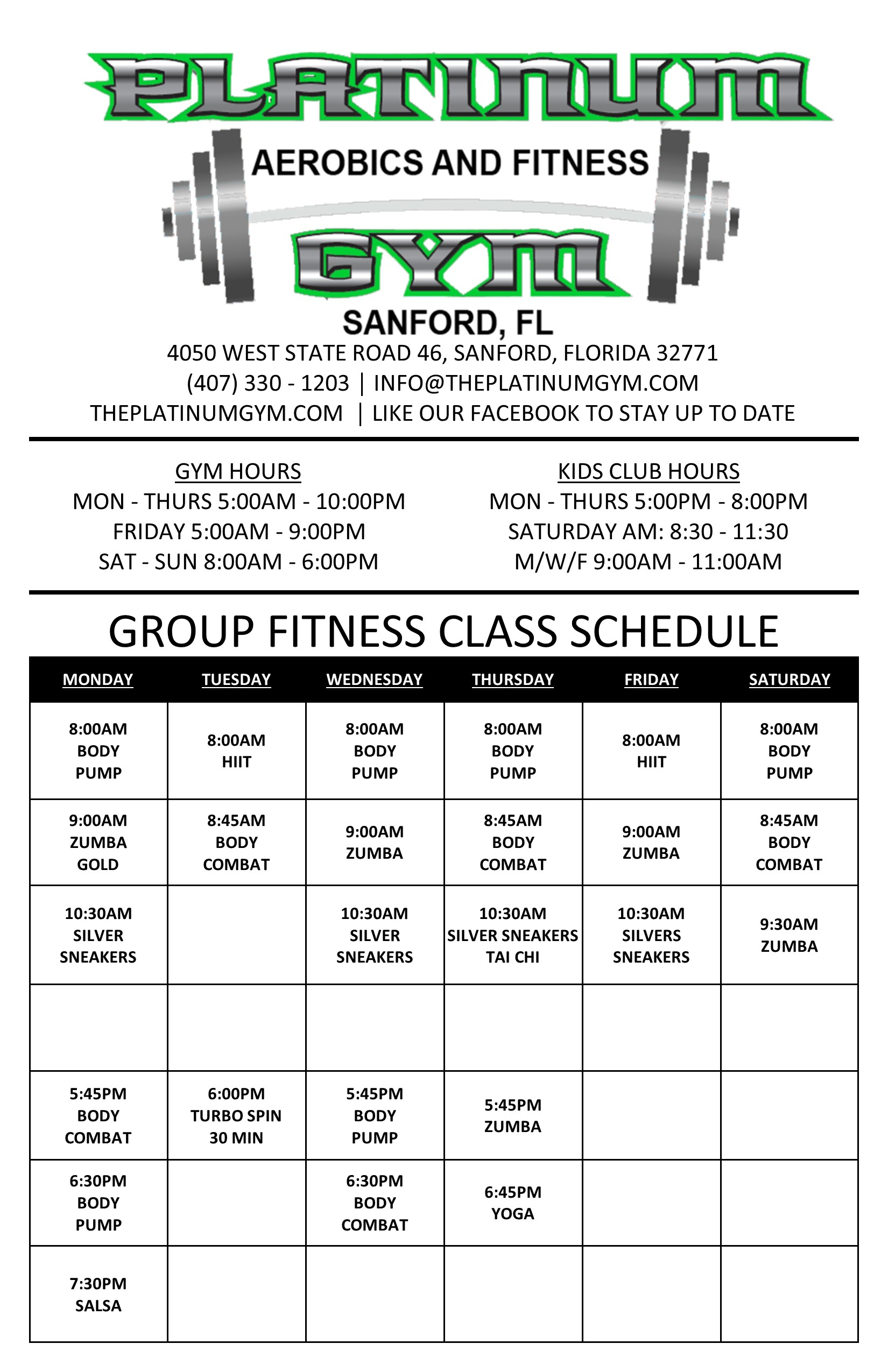 La Fitness Lake Mary Class Schedule : fitness, class, schedule, Class, Schedule, Platinum