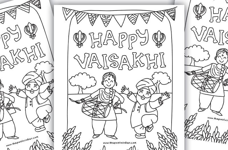 FREE Printable Vaisakhi Colouring Page