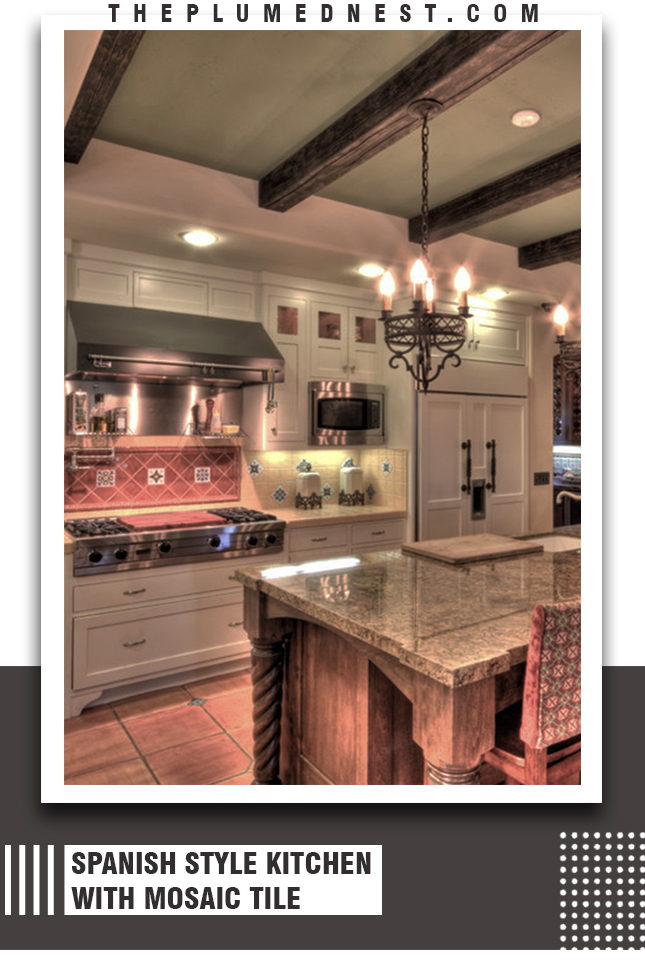 spanish style kitchen white cabinets
