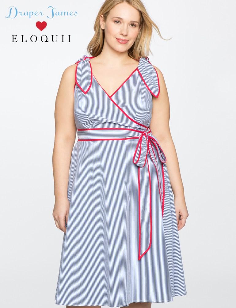 Draper James for ELOQUII Stripe Wrap Dress