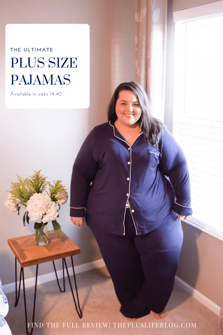 Plus Size Blogger Miranda Schultz of The Plus Life Blog in Navy Pajama Set from Woman Within