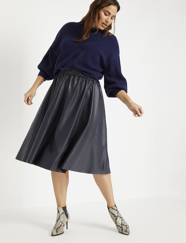 Fall 2019 Fashion Trends - Leather -  Faux Leather A-Line Midi Skirt