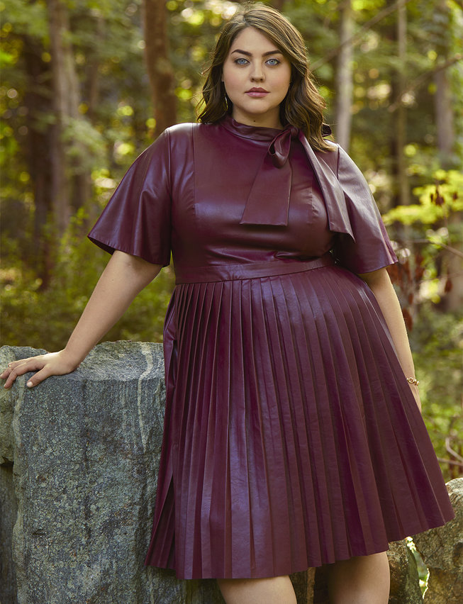 Fall 2019 Fashion Trends - Leather -  Faux Leather Tie Neck Midi Dress