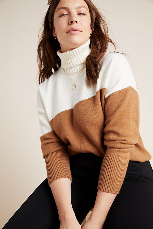Fall 2019 Fashion Trends - Earth Tones -  Color Block Turtle Neck