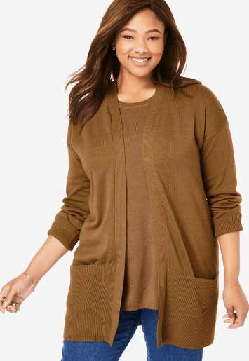 Fall 2019 Fashion Trends - Earth Tones -  Camel Open Front Cardigan