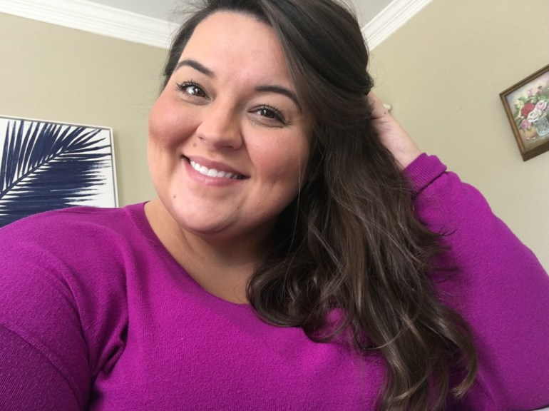 Miranda Schultz of The Plus Life Blog With Air Dried Hair - Eliminating Heat Styling Helps Keep Hair Healthy