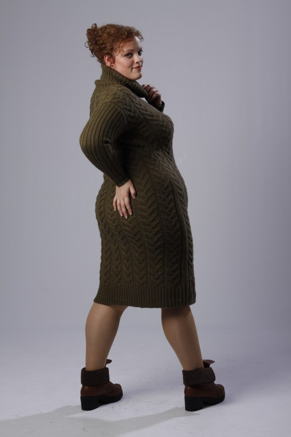 plus size sweater dress by Alice & You and boots with fur detail by Yours Clothing UK