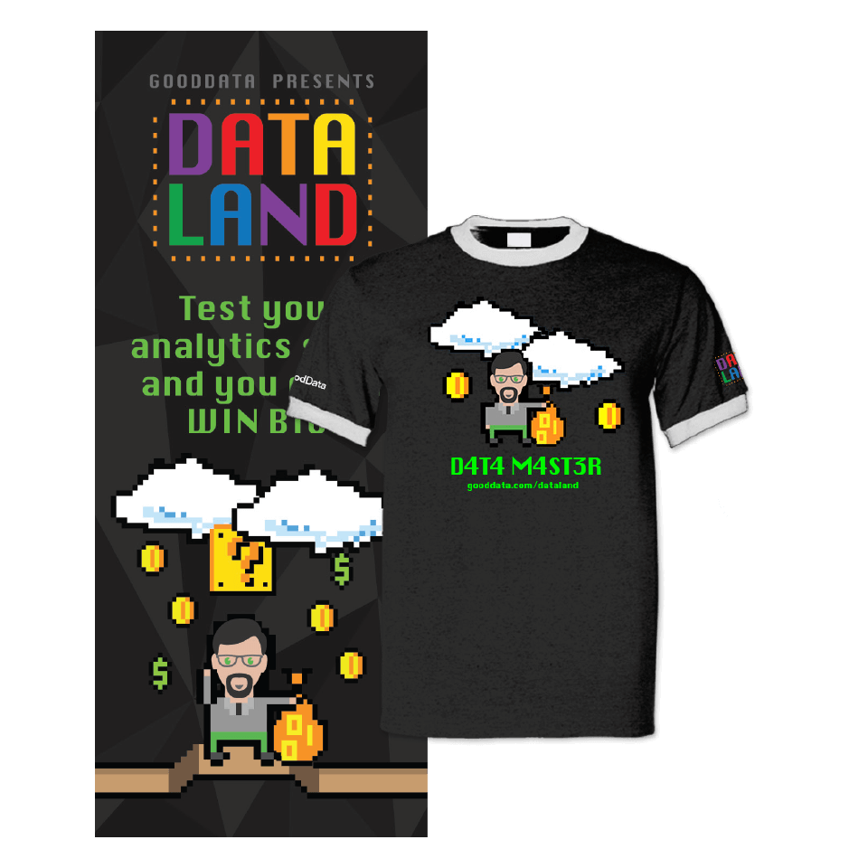 Promotional material examples for the Dataland campaign for GoodData