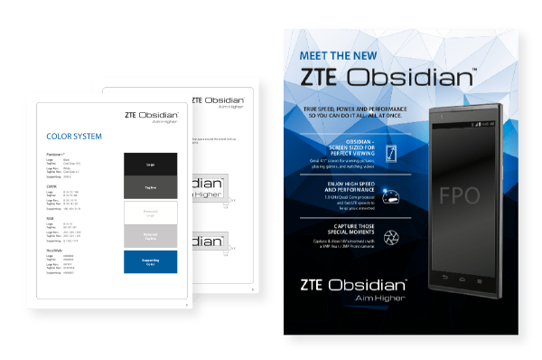 ZTE product launch design inspiration with branding guidelines including phone product of the Obsidian Launch