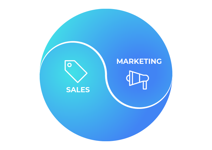 Graphic showcasing the harmony between sales and marketing