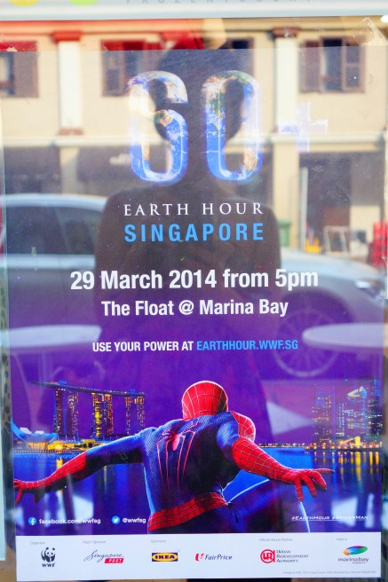 Celebrating Earth Hour with Spiderman.