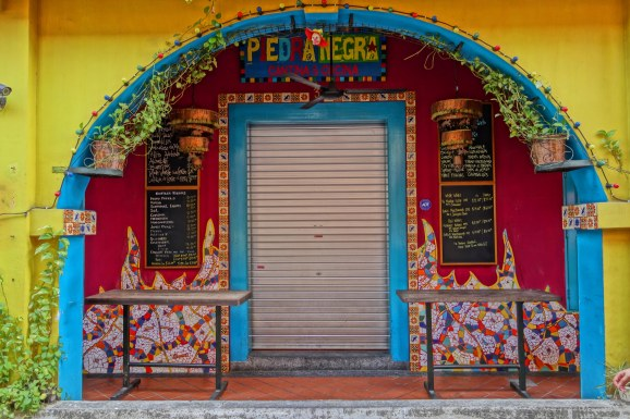 A closed restaurant. Haji Lane was very vibrant and colorful