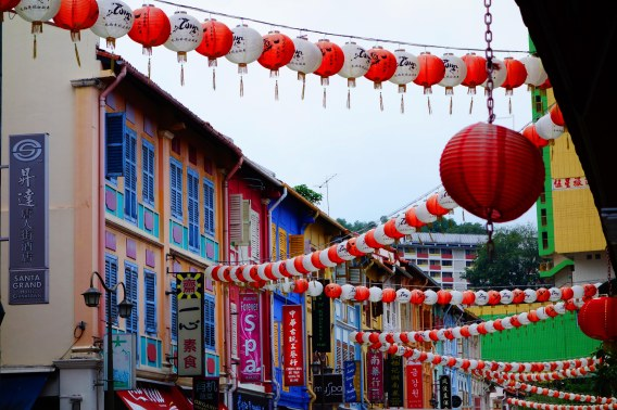 Chinese lanterns decorated the town
