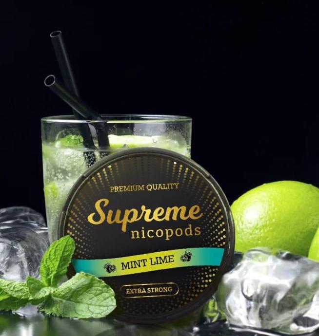 Supreme mint lime nicotine pouches snus nicopods the pod block