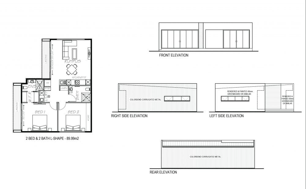 An image showing sketch of 2 bed and 2 bath L shape with its elevation design