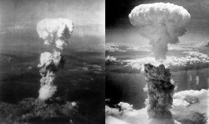 Left picture: Atomic plume above Hiroshima, photo taken by Necessary Evil Right picture : Atomic bombing of Nagasaki, photo by Charles Levy.