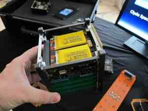 An example of a nanosatellite, to scale (Photo Credit: Svobodat via Wikimedia Commons)