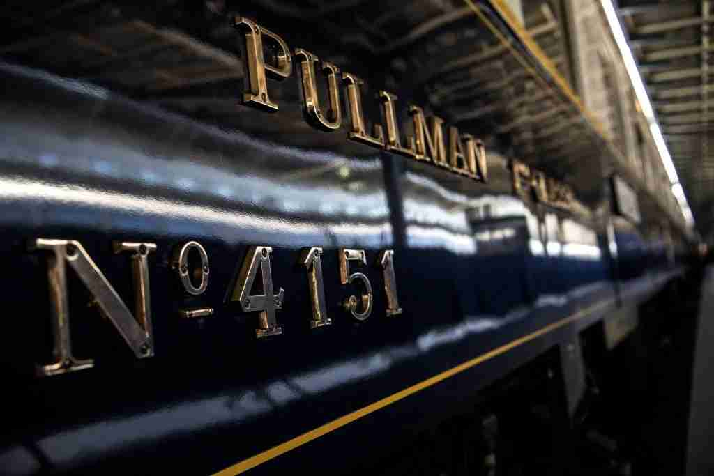 TOPSHOT - This picture taken on May 13, 2019 shows the carriage number of a restored Orient Express train displayed at the Gare de l