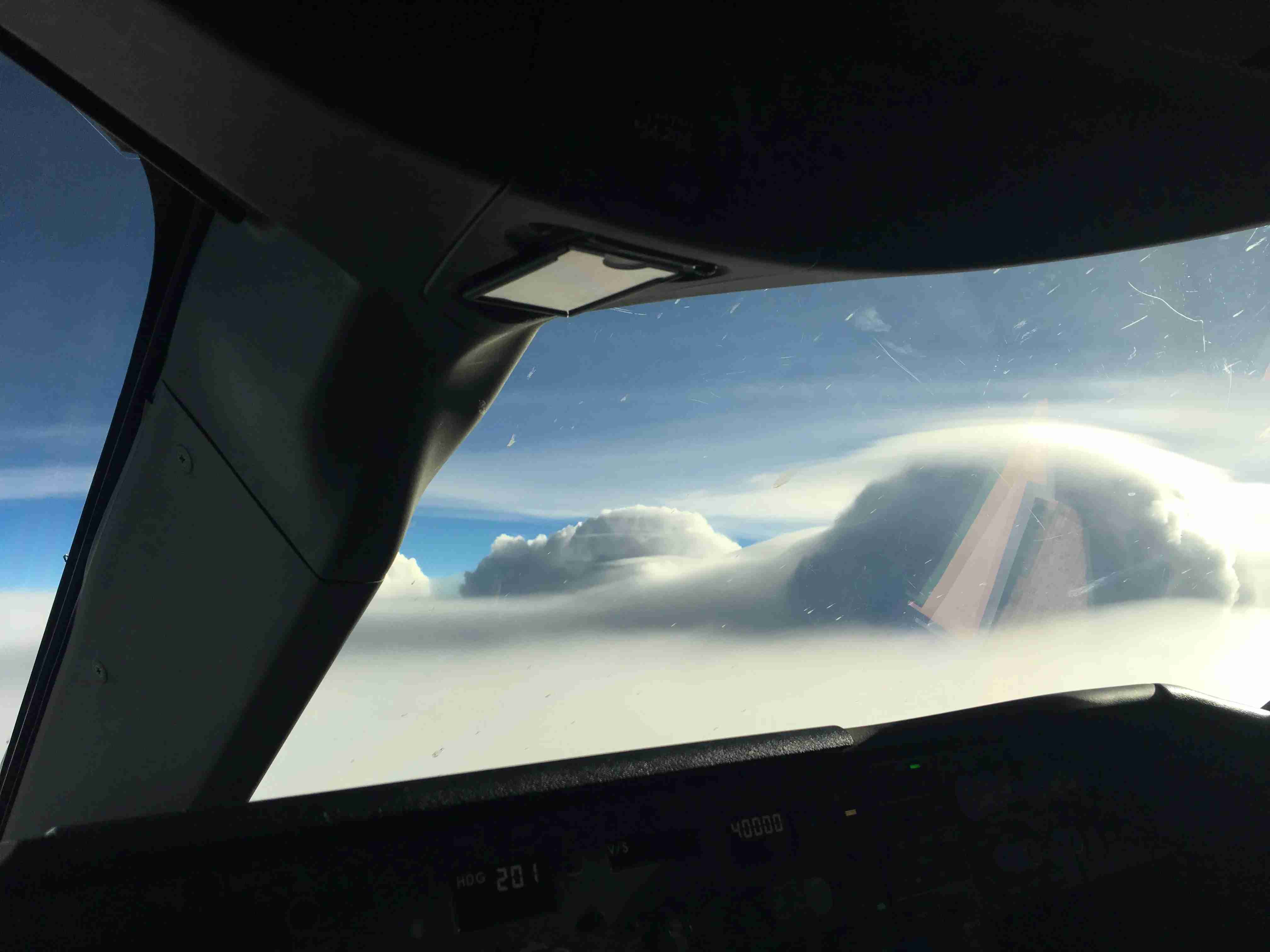 In the tropics, where the tropopause is much higher, these storms can grow well over 40,000ft.