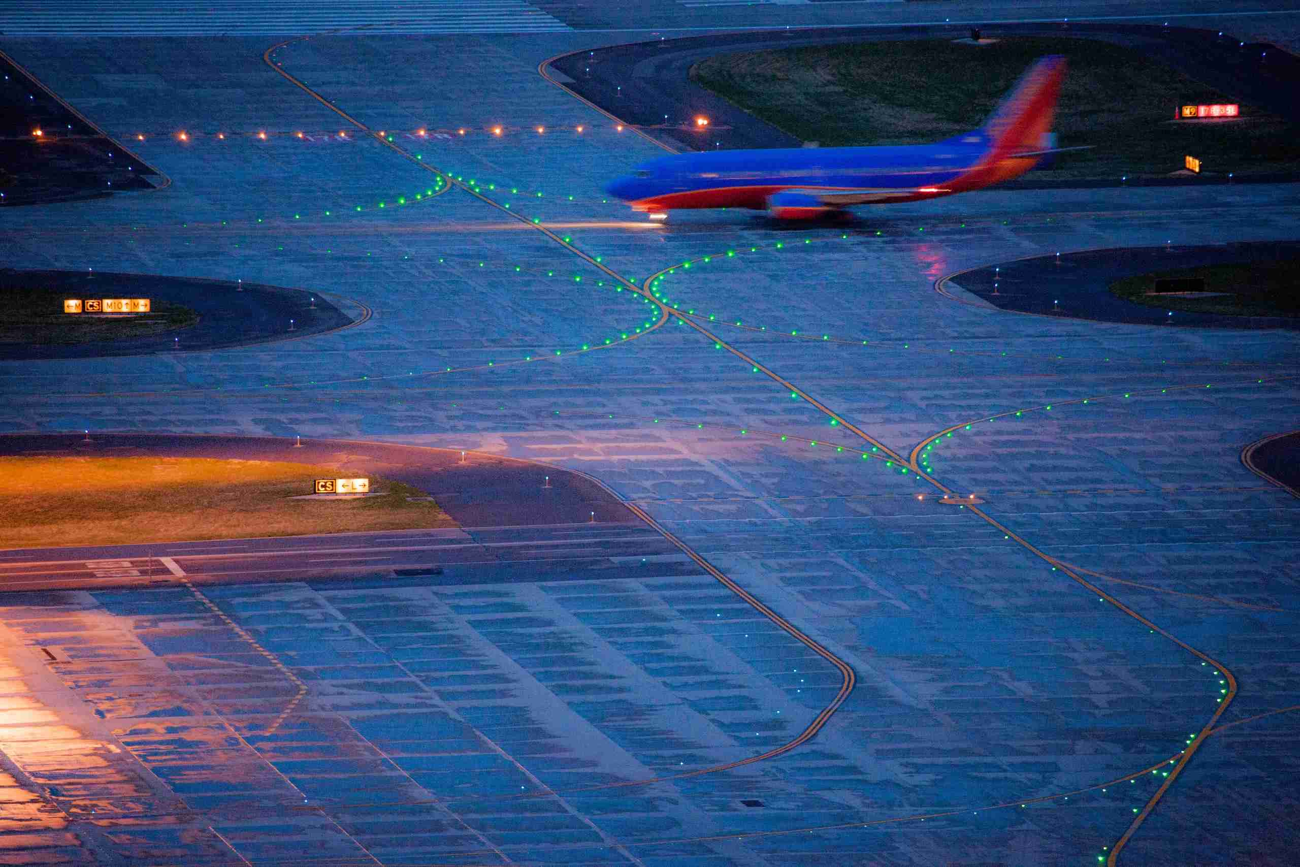 A network of taxiways link parking stands to the runways. (Photograph provided courtesy of Denver International Airport)