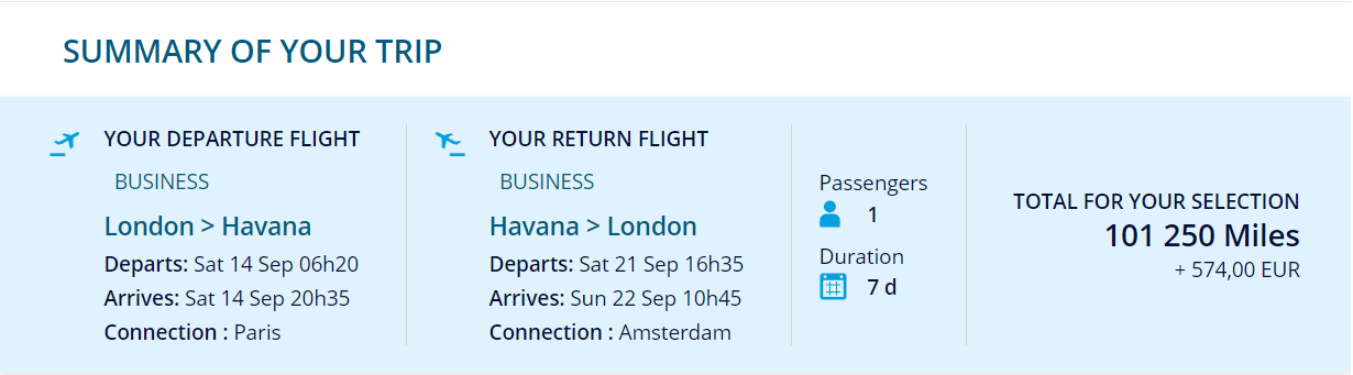 London to Havana (HAV) for 101,250 miles return in business