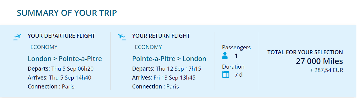 London to Guadeloupe (PTP) for 27,000 miles return in economy