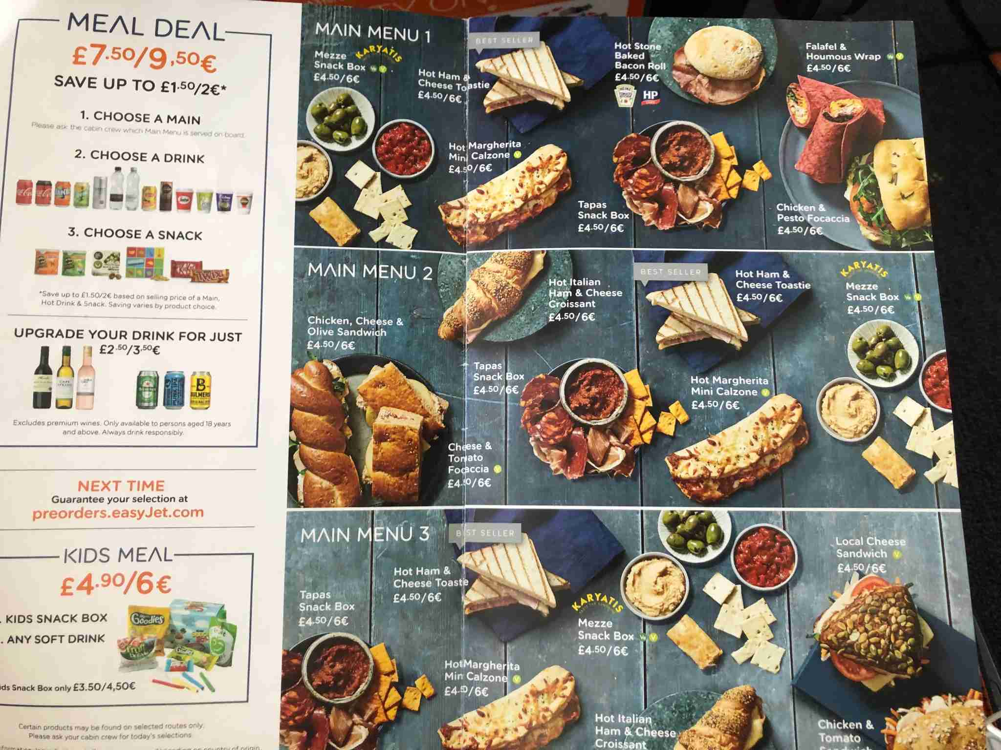 Some of the easyJet food offerings. Photo by Lori Zaino for The Points Guy UK.