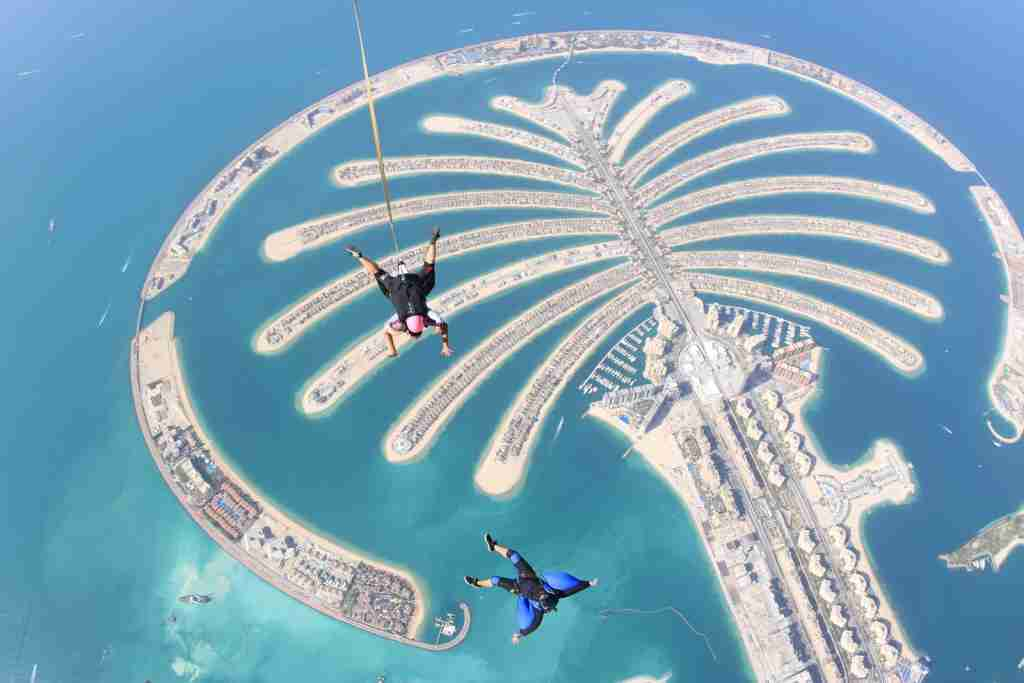 The Palm Jumeirah Island in Dubai, United Arab Emirates. (Photo by Skydive Dubai/Getty Images)